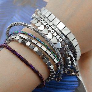 Jewelry - Flower Heart Geometric Glass Beads Bracelet Set